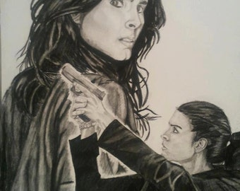 Detective Jane Rizzoli - copy 11x14 graphite portrait Angie Harmon Rizzoli & Isles
