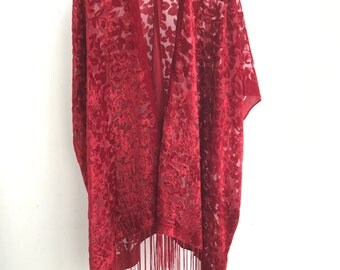 Kimono Mary Red Hippie Boho Gypsy Kimono velvet jacket boho devore burnout Brown Velvet Kimono - flower Design Gifts for Her