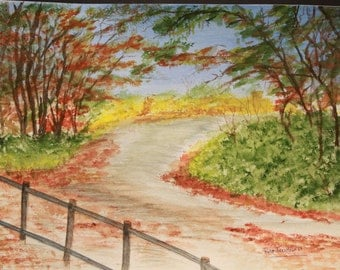 Fall foliage path, watercolor painting, autumn leaves, art painting, wall decor, fall painting, autumn color