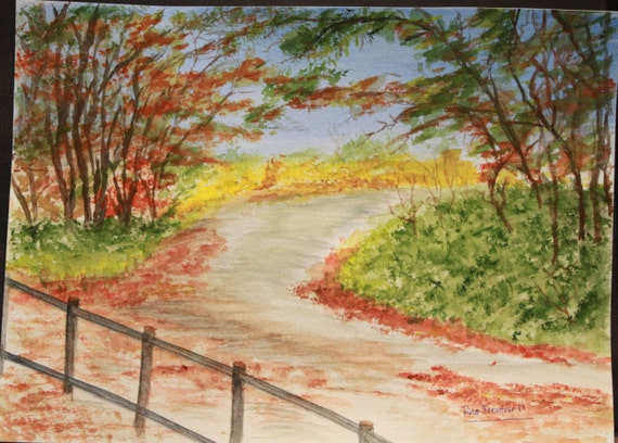 Fall Foliage Path Watercolor Painting Autumn Leaves Art