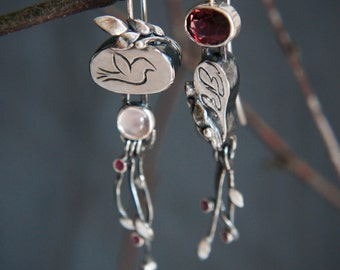 Mismatched earrings with pink tourmaline, rose quartz and rubies, modern statement earrings, sterling silver earrings, unique earrings, bird