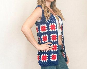70s Crochet Vest | Granny Square Vest - Red White and Blue Tank Top | Deadstock Vintage Waistcoat Handwoven | Hippy Boho Tank Top Patriotic