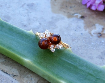 14kt Amber and Diamond Ring, Vintage and unworn