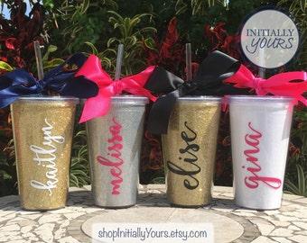 Personalized Glitter Tumbler, Monogram Glitter Cup, Personalized Gift, Custom Tumbler, Glitter Tumbler with Straw, Personalized Tumbler Cups