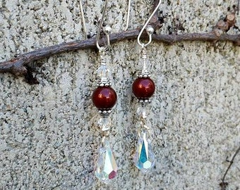 Swarovski pearl earrings-Swarovski crystal earrings-ruby pearl earrings-crystal earrings-sterling silver earrings-wedding jewelry