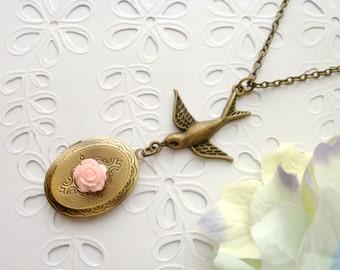 Love Bird Pink Rose Locket Necklace, Bird Locket Necklace, Love Bird, Pink Flower, Romantic Necklace, Vintage, Photo Locket, Gift for Her
