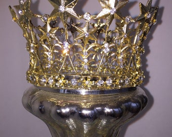 Metal Star Crown, Ornate Gold Crown, Cake Topper, Wedding Cake Topper, Rhinestone Crown, Religious Crown, Bridal Crown, Wedding Crown