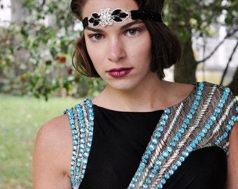 Black Great Gatsby Headband - Black Roaring 20s Headband - 20s Party Headband - Black Flapper Headpiece - Forehead Headband for Women -