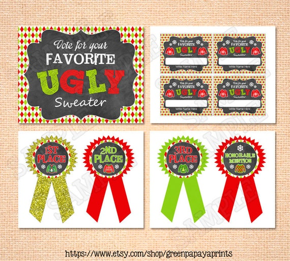 Ugly Sweater Party Kit Printable Instant Download DIY