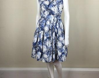 blue & white splatter print cowl neck cotton dress w/ full skirt 60s