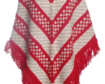 Vintage Hand Knitted Wool Poncho - www.brickvintage.com