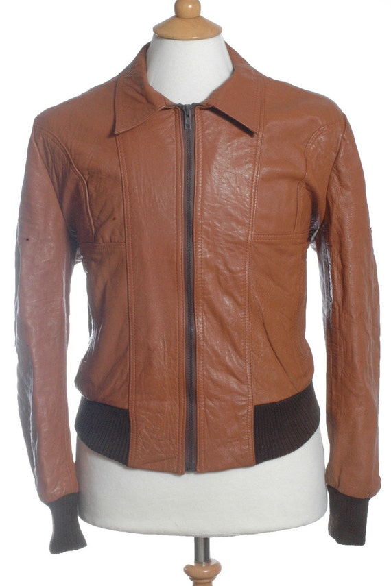 Vintage 1970 39 s bespoke brown leather bomber jacket l for What is bespoke leather