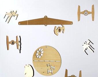 Star Wars Baby Mobile DIY Kit, Do It Yourself Baby Mobile Set, Baby Room Mobile, Modern Wood Mobile, Star Wars Nursery Mobile Decor SWar019