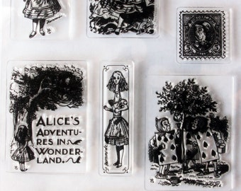 Alice in Wonderland Clear Cling Stamp Set