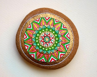 Hand Painted Stone Mandala with Christmas Colors