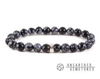 Snowflake Obsidian Bracelet - Black Bracelet, Stone Bracelet, Bohemian Jewelry, Yoga Bracelet, Snowflake Obsidian Jewelry