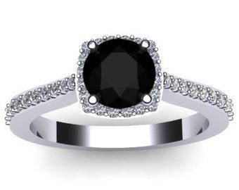 Diamond Halo Engagement Ring Black Diamond Wedding Ring 14K White Gold Engagement Ring with 6mm Round Natural Black Diamond Center - V1082