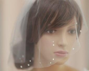 swarovski crystals biedcage veil,Bridal mini veil with swarovski crystals  rhinestones - Rhinestone adorned mini tulle veil----v630