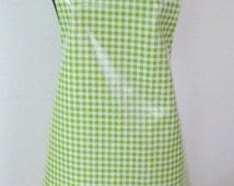 Handmade Oilcloth Bib Cook's Apron Mexican PVC Washable Fabric Sturdy Satin Ribbon Straps ROSES on BLUE
