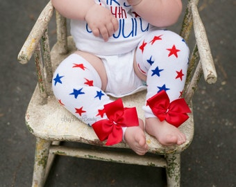 Fourth of July leg warmers patriotic stars polka dot red white and blue