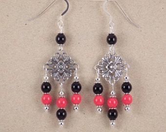 Black and Orange Glass Chandelier Earrings