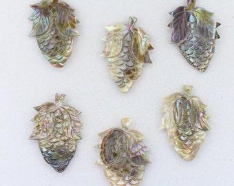 6 PCS VINTAGE Abalone Shell Pineapple Pendants 33x23mm