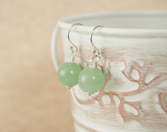 Sterling Aventurine Earrings, Gemstone Earrings, Sterling Gemstone Earrings, Green Gemstone Earrings, Modern Earrings, Simple Earrings