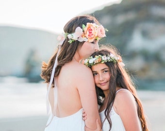 Coral & Peach Flower Crown - flower girl crown- peach hair wreath - photo prop - bridal floral hair wreath- garden wedding flower crown