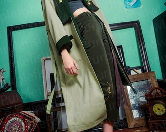 Fine Art Collection green theme Van Gogh art inspired chic embroidery and tassel coat