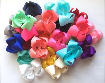 Hair Bows- Set of 5 or 10- 4 inch Boutique Bows- You choose the colors, 25 colors to choose from