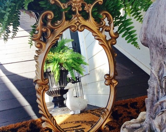 Vintage Ornate Gold Wall Mirror, Hollywood Regency, Shabby Chic, French Country, Cottage, Tuscan, Wall Decor