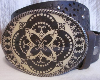 belt buckle bohemian belt buckle Black & Tan accessories boho jewelry Cowgirl Belt Buckle bandana belt buckle Lavish Lucy Designs