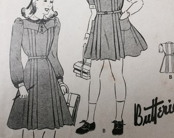 Butterick  junior sewing pattern 1106 , vintage girls dress sewing pattern with bloomers, Size 10, 28 Breast