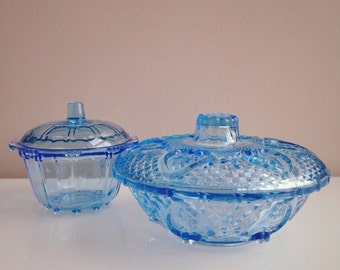 Two Vintage Serenity Blue Glass Lidded Dishes