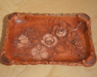 Vintage Tray, Faux Wood, Tray with Flowers, Multi Products