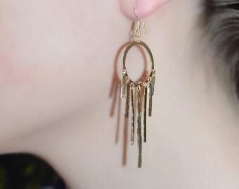 Gold Drop Earings - Extra Long Dangle Earrings - Hammered Gold Dangling Earings - Stud Earrings