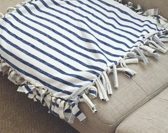 Security Blanket/Blue and Cream Stripes