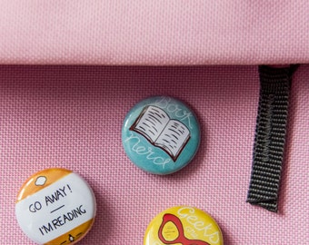 Book Nerd / Lover Badges // Book Badge, Gift for Reader, Book Lover Gift, Gift for Book Lover, Librarian Gift, Vintage Glasses, Calligraphy