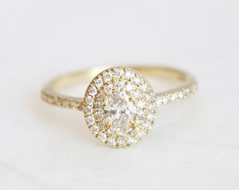 Halo Diamond Engagement Ring, Halo Engagement Ring, Oval Engagement Ring, Pave Diamond Engagement Ring, White Diamond Ring