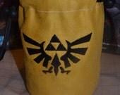 Dice Bag custom Embroidery Gold suede Black Zelda triforce
