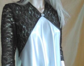 elegant shirt, lace blouse, lace top, elegant black lace top, top pearl gray