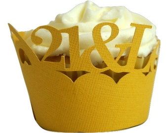 Gold matte  21-&-Legalized Cupcake Wrappers, Set of 12, Birthday, Yellow Texture, Cupcake Decor, Handcrafted Party Decor, Party Supplies