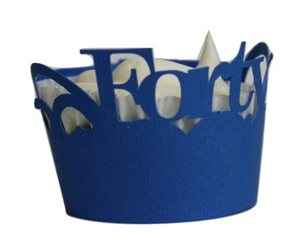 Blue Forty Cupcake Wrappers, Set of 12