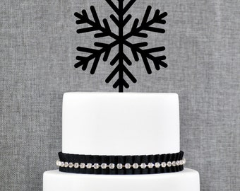 Snowflake Cake Toppers, Holiday Wedding Cake Toppers, Elegant Christmas Custom Cake Topper- (T126)