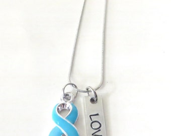 Dysautonomia Turquoise Customizable Awareness Ribbon Stainless Steel Charm Necklace with Optional Add On Charms