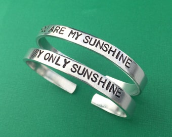 SET OF 2 You Are My Sunshine My Only Sunshine Bracelet, Mother Daughter Jewelry, Hand Stamped Bracelet, Aluminum Skinny Cuff, Mothers Day