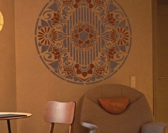 mandala schablone f r die malerei m bel stencil wand. Black Bedroom Furniture Sets. Home Design Ideas
