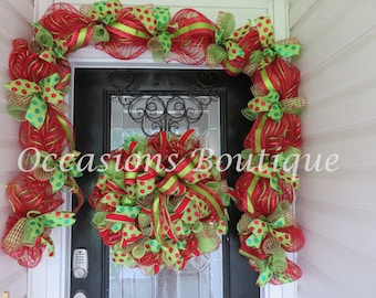 Whimsical Christmas Wreath with Door Garland, Holiday wreath, Christmas door hanger,  Christmas Decoration, Large Wreath, Front door Wreath
