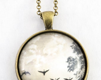 Flying Bird Necklace Bronze, Bird Jewelry, Birthday Present for Her, Flying Geese Pendant