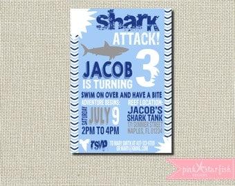 Shark Birthday Invitation, Shark Invitation, Pool Party Invitation, Shark Invite,  Shark Pool Party Invitation, Shark, Digital, Printable